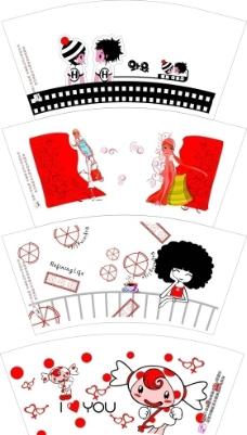 时尚卡通纸杯设计图片