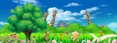 小学生卡通动物背景图片
