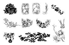矢量传统植物图案图片