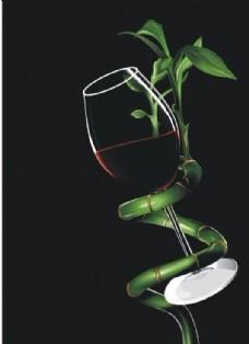 竹子藤绕的酒杯