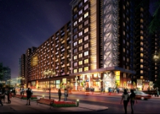 商业楼夜景图片