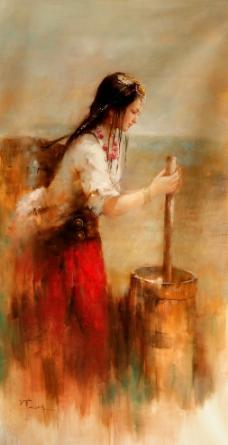 藏族油画少女图片