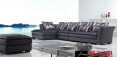 聚才家具灰色布艺沙发图片