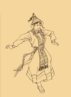 裕固族人物白描图片图片