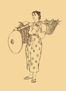 傣族人物白描图片