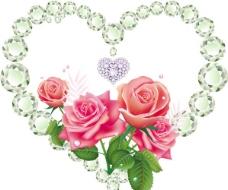 爱情钻石与玫瑰图片