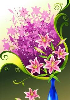 矢量花朵 百合花 花瓶图片