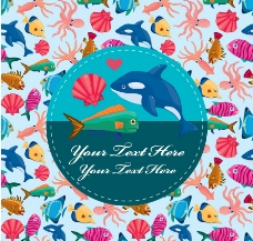 可爱卡通海洋生物背景图片