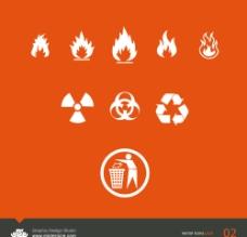 垃圾回收防火防辐射警告矢量公共标志图片