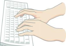 电脑打字的手势图片