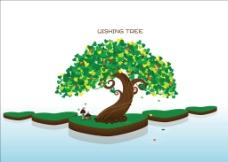 韩国大树水面图片