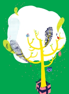 手绘风格装饰画 大树图片