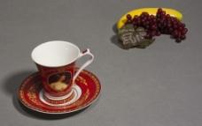 欧式陶瓷红色咖啡杯图片