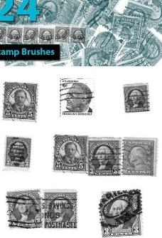 24款高清晰國外郵票ps筆刷圖片