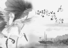 小桥仙鹤流水图图片