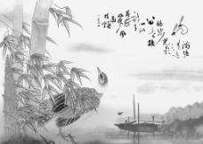 小桥竹叶流水图图片