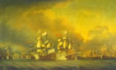 海战油画图片