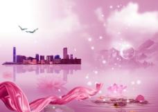 海边水景彩带图片