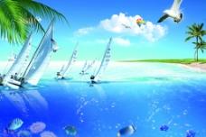 夏日海边风光图片