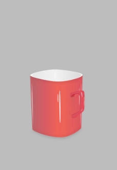 超质感矢量经典红色咖啡杯图片
