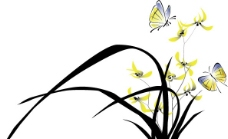 水墨中国风矢量素材兰花图片