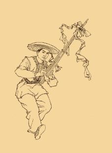 苗族人物白描图片