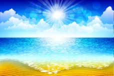 蓝天白云沙滩海洋图片